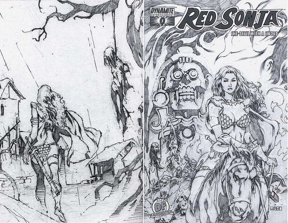 Red Sonja (Dynamite) 1 (DF Authentix Mel Rubi Sketch Wrap Variant 1 of 600 )