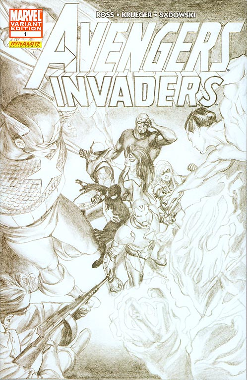 Avengers Invaders 1 (of 12 ) ( 1 in 50 Incentive Sketch Alex Ross Cvr)