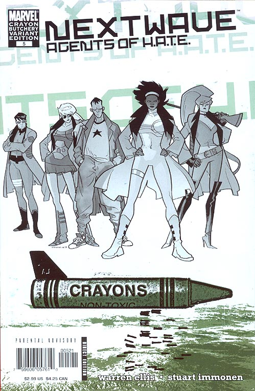 Nextwave Agents of HATE 5 (Immonen Crayon Butchery Variant)