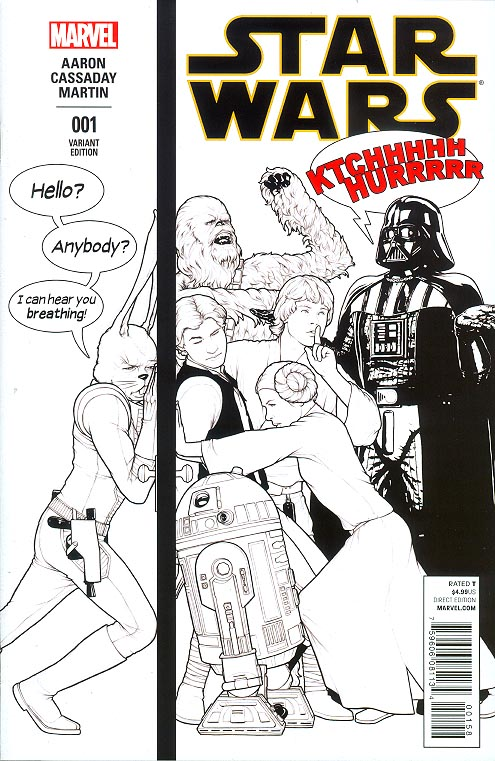 Star Wars vol 3 - 1 (John Tyler Christopher Humorous Welcome Home Launch Party Sketch Variant Cover)