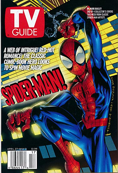 TV Guide vol 50 - 17 (Issue 2561 ) Spider-Man Mark Bagley Cover ( 2002 )