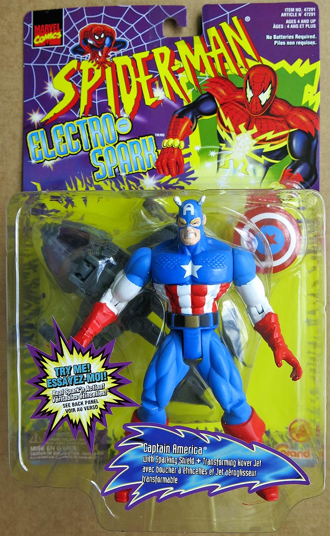 Spider-Man Electro-Spark Action Figures Captain America