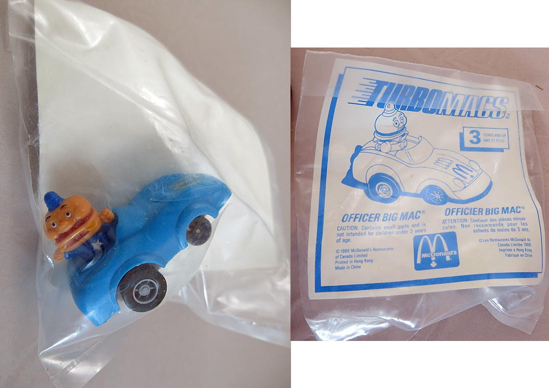 Mc Donalds Happy Meal 1988 Turbomacs Officer Big Mac (MIP)