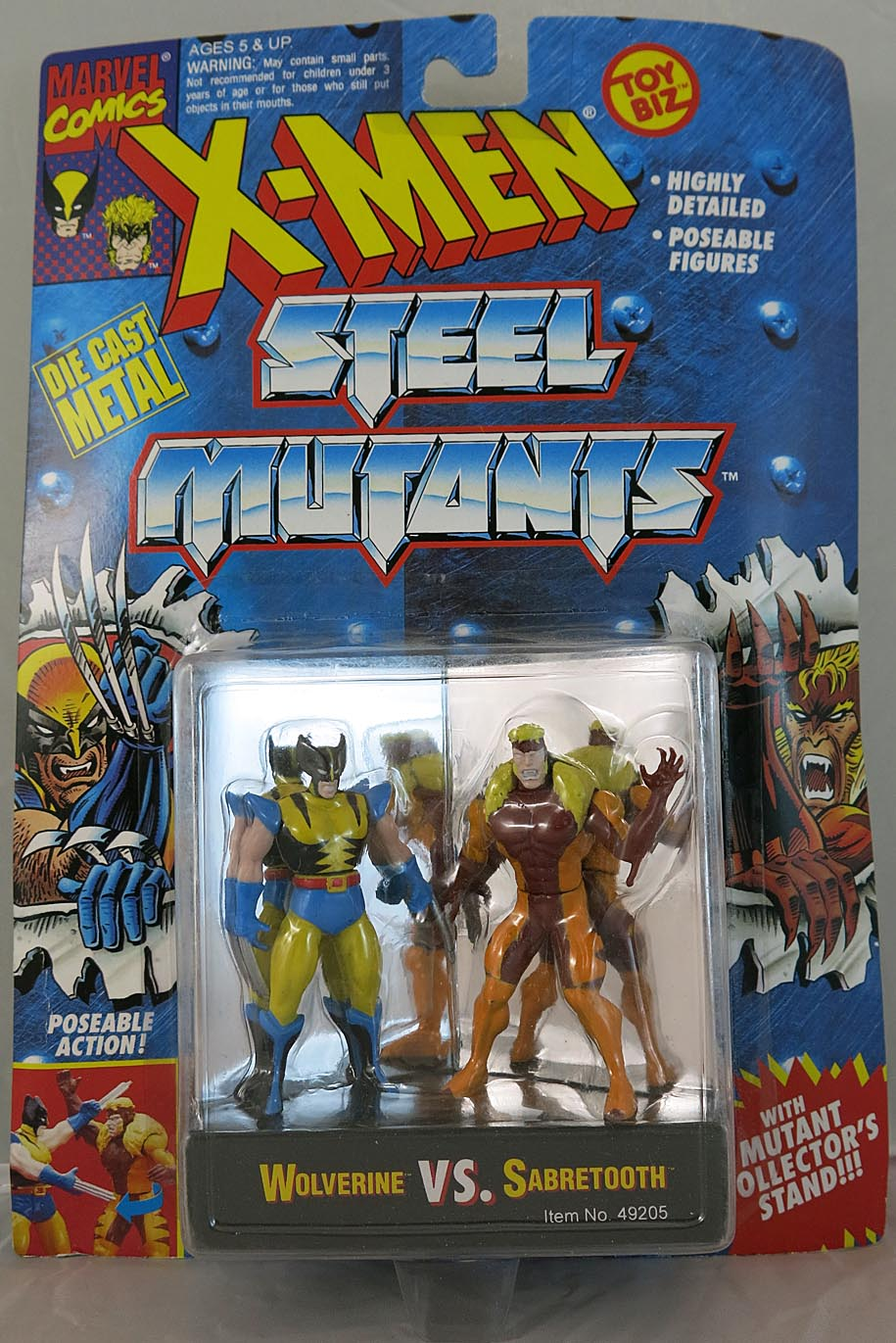 X-Men Steel Mutants (Die Cast Metal) Wolverine Vs Sabretooth